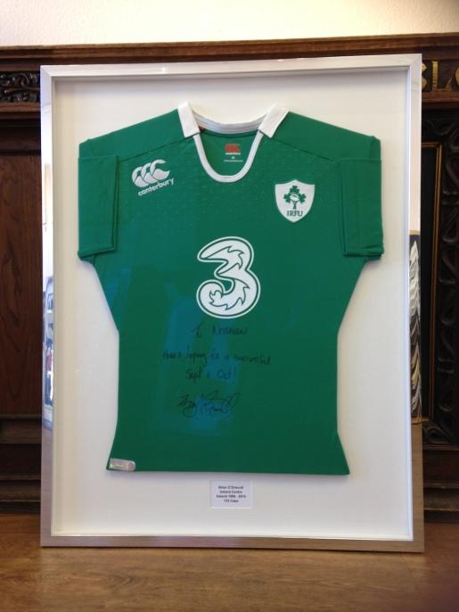 New shaped Rugby shirt bespoke framed
