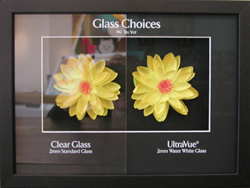 Non reflective framing glass
