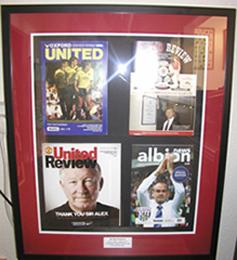 Sporting memorabilia framed