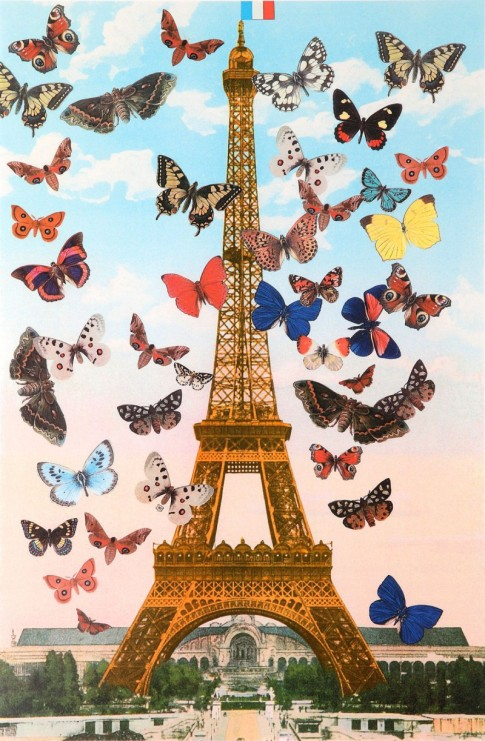Eiffel Tower signed limited edition silkscreen print with glazes by British Pop artist Sir Peter Blake. 2010