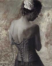 Lace Corset silk screen by Fletcher Sibthorp